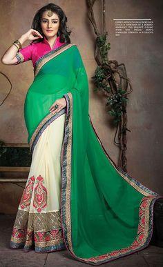 Shop #Green and #Cream Color Saree @ http://www.indiandesignershop.com/product/green-cream-color-saree/
