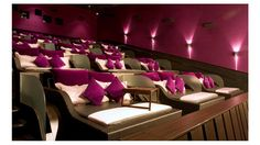 movie theater in Jakarta, Indonesia. Bed Cinema, Soft Bed Sheets, Home Theater Seating, Pink Bedding, Construction, Movie Theater, Theatre, Theater Rooms, Interior Design