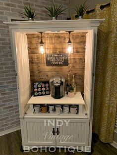 Custom armoire coffee bar coffee or beverage station rustic Coffee Bars In Kitchen, Coffee Bar Home, Home Coffee Stations, Coffee Bar Ideas, Coffee Bar Station, Diy Coffe Bar, Wine Station, Beverage Stations, Coffee Station Kitchen