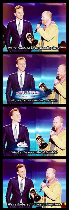 Joss Whedon and Tom Hiddleston are Biebered to win an award for Avengers.