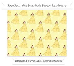 Free Landscape Pastel Light Yellow Star Large Belle Pattern Paper - Beauty and the Beast