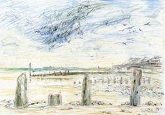 A pen and pencil sketch of Mundesley beach, Norfolk, England, UK
