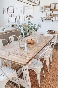 Wood Vintage Table With Metal Chairs #metalchairs #woodtable ★ Industrial and modern, simple and intricate farmhouse table designs to consider adding to 您r décor. ★ #farmhousetable #farmhousedecor #homedecor