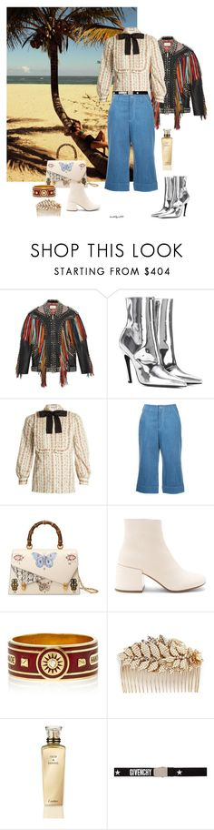 """""""Paradise"""" by katelyn999 ❤ liked on Polyvore featuring Retrò, Gucci, Balenciaga, Nehera, MM6 Maison Margiela, Foundrae, Miriam Haskell, Cartier and Givenchy"""