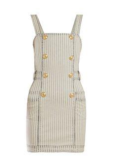 New Balmain Striped denim mini dress. Womens Dresses from top store Fashion Wear, Denim Fashion, Fashion Outfits, Womens Fashion, Luxury Fashion, Casual Dresses, Casual Outfits, Dresses Dresses, Balmain Dress