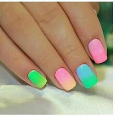 Nails colourful girly summer pink green light blue yellow orange