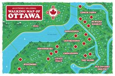 An Extremely Millennial Walking Map Of Ottawa, Ontario Ottawa Ontario, Ottawa Tulip Festival, Walking Map, Ottawa River, Travel Oklahoma, Canadian Rockies, New York Travel, Canada Travel, Places