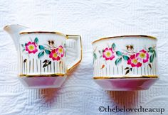 Sugar Spoon, Sugar Bowl, Fun Cup, Stoke On Trent, Cream And Sugar, Tea Accessories, Floral Stripe, Earthenware, 1920s