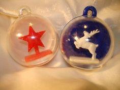2 Vintage Christmas Hard Plastic Diorama Ornaments Blue ReinDeer Red Star | #1661332444
