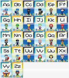 Printable ClipArt Digital PDF File Superhero 5 x 7 inch Alphabet Cards