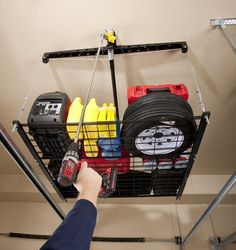 Racor PHL-1R Pro HeavyLift 4-by-4-Foot Cable-Lifted Storage Rack | #Racor #GarageStorage #OrganizationProducts #CeilingMountedStorageRacks #UtilityRacks #Storage #Organization #Racks #StorageRacks