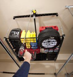Racor PHL-1R Pro HeavyLift 4-by-4-Foot Cable-Lifted Storage Rack | #Racor #GarageStorage #OrganizationProducts #CeilingMountedStorageRacks #UtilityRacks #Storage #Organization #Racks #StorageRacks