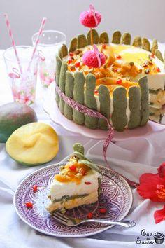 Mango Charlotte with Matcha Biscuits Mango Cream, Sour Cream, Gogi Berries, Tea Cakes, Baking Sheet, Pistachio, Matcha, New Recipes, Biscuits