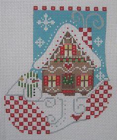 Handpainted Needlepoint Canvas Danji Gingerbread House Mini Stocking CH91 #DanjiCHDesigns