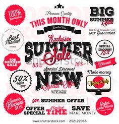 Set of vector summer sales labels and sticker design