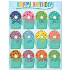 Make students feel special on their big day with the yummy-looking donuts on this Mid-Century Mod Happy Birthday Chart. This chart is a perfect way to display student birthdays in the classroom, at a day care, in a church, or at a preschool Birthday Display In Classroom, Candy Theme Classroom, Birthday Bulletin Boards, Kindergarten Classroom Decor, Birthday Wall, Happy Birthday, Birthday Calendar Classroom, Kindergarten Interior, Classroom Behavior