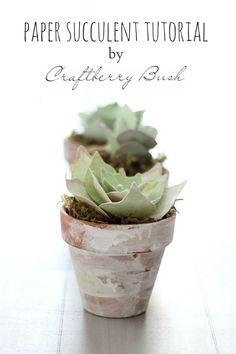 Craftberry Bush - paper succulent tutorial with printable  template. #tutorial#paper#succulent#craft