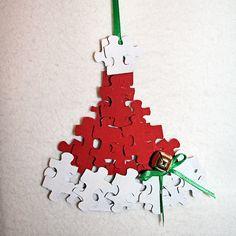 santa christmas craft | Puzzle Piece Santa Hat Ornament Craft