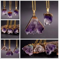 Amethyst necklace Free form slab of genuine Amethyst crystal with 18 inch gold tone chain stone is approx 1 inch Boutique Jewelry Necklaces