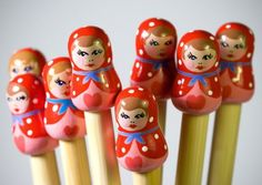 Candy Floss Babushka Knitting Needles - These just make me smile :) Would be so fun to have.