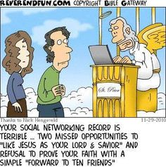 "I love Jesus, I don't think he needs me to ""like"" something to prove it to him! Christian Comics, Christian Cartoons, Christian Jokes, Christian Life, Funny Cartoons, Funny Jokes, Hilarious, Cartoon Humor, Church Humor"