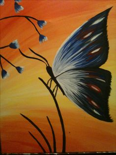 butterfly in acrylic on canvas. Copied from a paint nite.