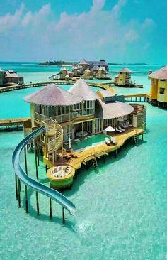 I think I could manage to stay here for a day or two... if I had to. #travel Travel Destinations, Unique Honeymoon Destinations, Holiday Destinations, Holiday Places, Maldives Water Villa, The Maldives, Maldives Resort, Bora Bora Resorts, Exuma Bahamas Resorts