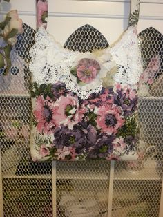 Shabby Chic Purple and Pinks Barkcloth Handbag by touchograce, $47.95