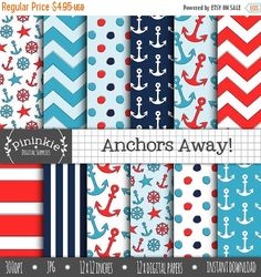 50% OFF SALE Nautical Digital Paper, Summer Digital Paper, Anchor Digital Scrapbooking Paper, Card Making Paper, Blue, Navy, Red, Polka Dots by Pininkie on Etsy https://www.etsy.com/listing/177911359/50-off-sale-nautical-digital-paper