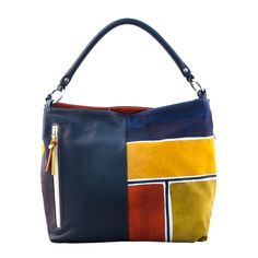 ASTORE BAG Acquerello Blue Beta - Genuine Leather 100% - HANDPAINTED - Made in Italy
