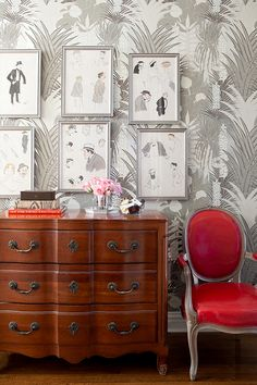 fantastic wallpaper and frames combo. Love the antique dresser and chair. Basically love it all. Designed by Lily Bunn Interiors