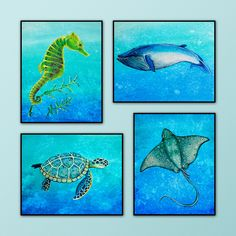 Set of Four 8x10 Art prints from my original by LittlePigStudios