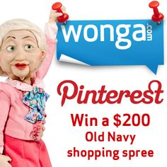 Follow us on Pinterest and repin 5 pins for a chance to win a $200 Old Navy shopping spree!  Contest ends Aug 31. Canada only.  #winwithwonga Shopping Spree, Things I Want, Lovely Things, Giveaways, Back To School, Competition, Old Navy, April 21, August 2013