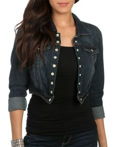 Snap Front Cropped Jacket from WetSeal.com