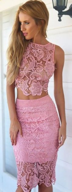 Two piece pink lace outfit