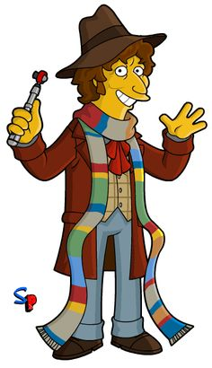 the Doctor, Tom Baker Springfield Punx: Super Whosday; the Doctor, Tom Baker 4th Doctor, Doctor Who Art, First Doctor, Simpsons Characters, Fictional Characters, Science Fiction, 3 Gif, Classic Doctor Who, Doctor Who Companions