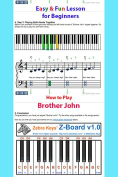A fun way to teach your child how to play nursery rhyme, Brother John on piano, comes with free online virtual piano