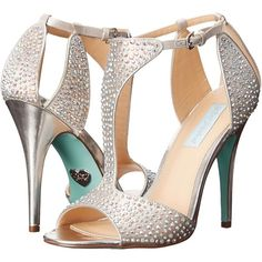 Blue by Betsey Johnson Ido (Silver) High Heels ($75) ❤ liked on Polyvore featuring shoes, silver, t strap shoes, silver shoes, t strap high heel shoes, betsey johnson shoes and peep toe shoes