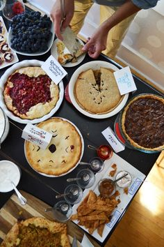 A Pie Party - guests each brought a pie to share.