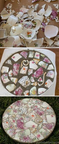 Broken China Mosaic Garden Stones | The WHOot More