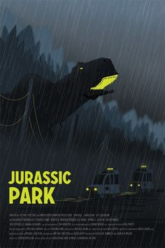 Jurassic Park print by Andy Helms on sale at Etsy. Michael Crichton, Best Movie Posters, Minimal Movie Posters, Movie Poster Art, Jurassic Park 1993, Jurassic Park World, Science Fiction, Thriller, Design Poster