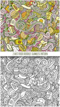 2 Fast Food Doodles Seamless Patterns