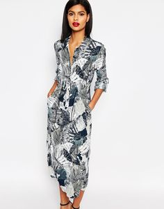 French Connection Maxi Shirt Dress in Lala Palm Print