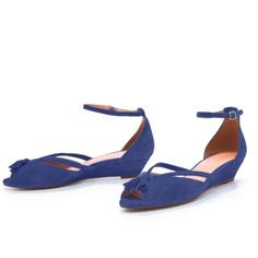 Madewell Tassel Mini Wedge Peep Toe Cute mini wedge blue suede. Comfortable too! Ankle strap. Wear shown in photos (price reflects) Madewell Shoes Wedges
