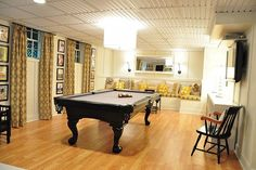 basement ideas - interesting drop ceiling and long curtains - This is absolutely amazing.