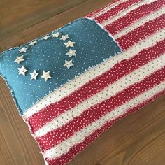 I have exactly ONE decoration for of July. and it's missing a button. And I don't even have a cute couch/bench to put it on yet 😂 (This is my Raggedy Flaggedy pillow from McCall's Quilting magazine several years back. Front Porch Garden, 4th Of July, Mccall's Quilting, Bench, Buttons, Boutique, Decoration, Cute, Magazine