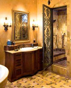 iron shower door & tile