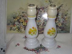 Avon Collectible Milk Glass Butter Cup Candle Stick Bottles
