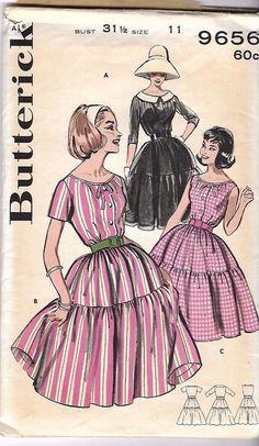"Vintage 1950's/60's Bardot Dress Full Skirt Flounced Sewing Pattern Rare B 31.5"""