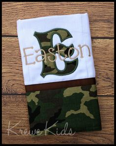 Army Camo Burp Cloth by KreweKids on Etsy, $11.50